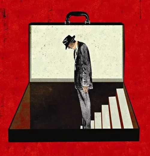 A graphic of a man walking down a flight of stairs in a briefcase. A poster for the play